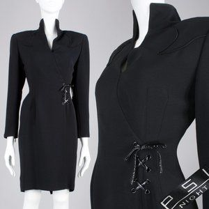 M 6 Vintage 90s Tailored Lace Up Goth Power Dress